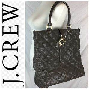🆕 J. Crew Quincy Brown Quilted Leather Tote Bag
